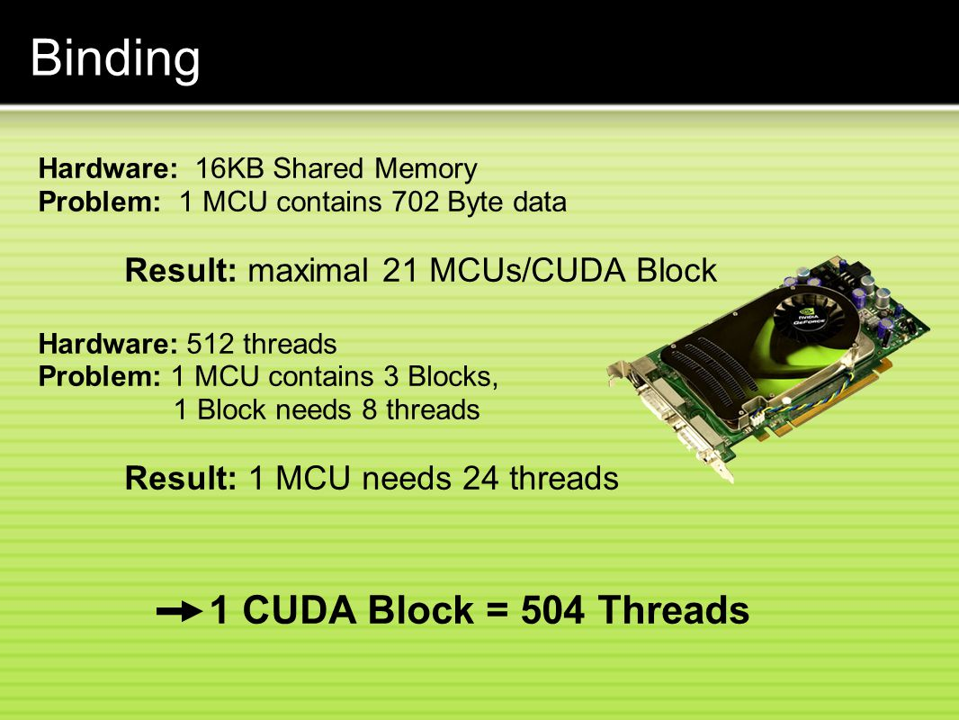 Binding 1 CUDA Block = 504 Threads Result: maximal 21 MCUs/CUDA Block