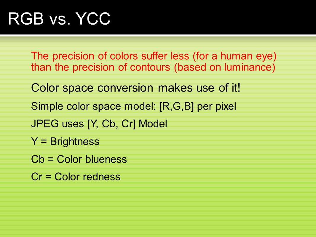 RGB vs. YCC Color space conversion makes use of it!