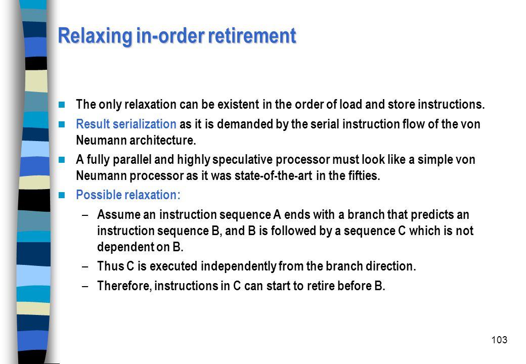 Relaxing in-order retirement