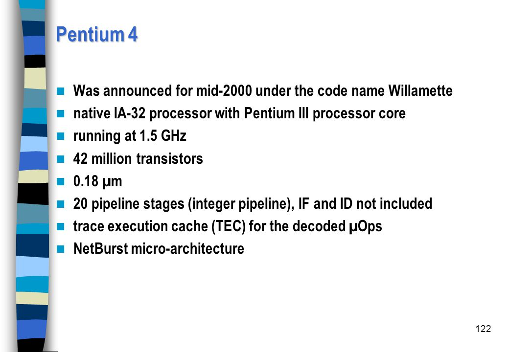 Pentium 4 Was announced for mid-2000 under the code name Willamette