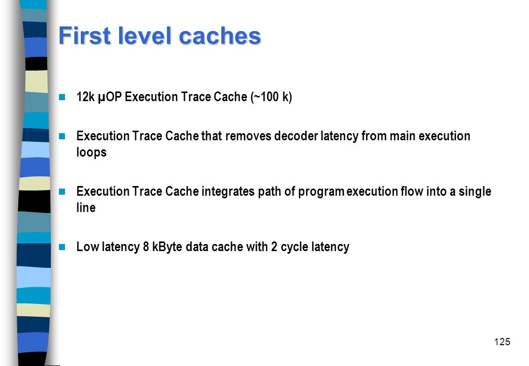 First level caches 12k µOP Execution Trace Cache (~100 k)