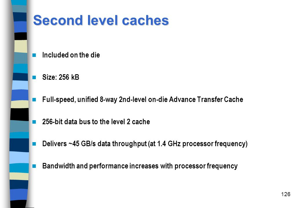 Second level caches Included on the die Size: 256 kB