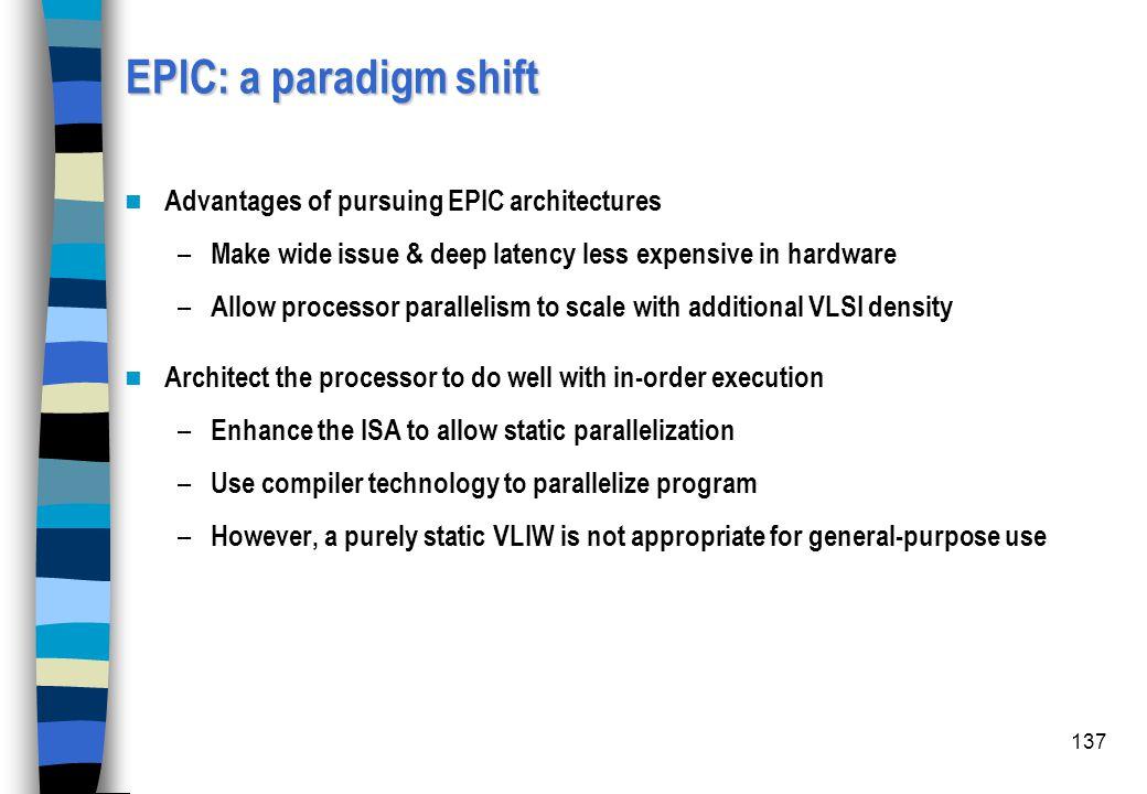 EPIC: a paradigm shift Advantages of pursuing EPIC architectures