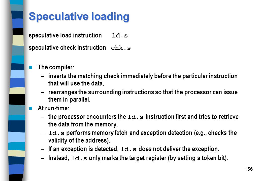 Speculative loading speculative load instruction ld.s