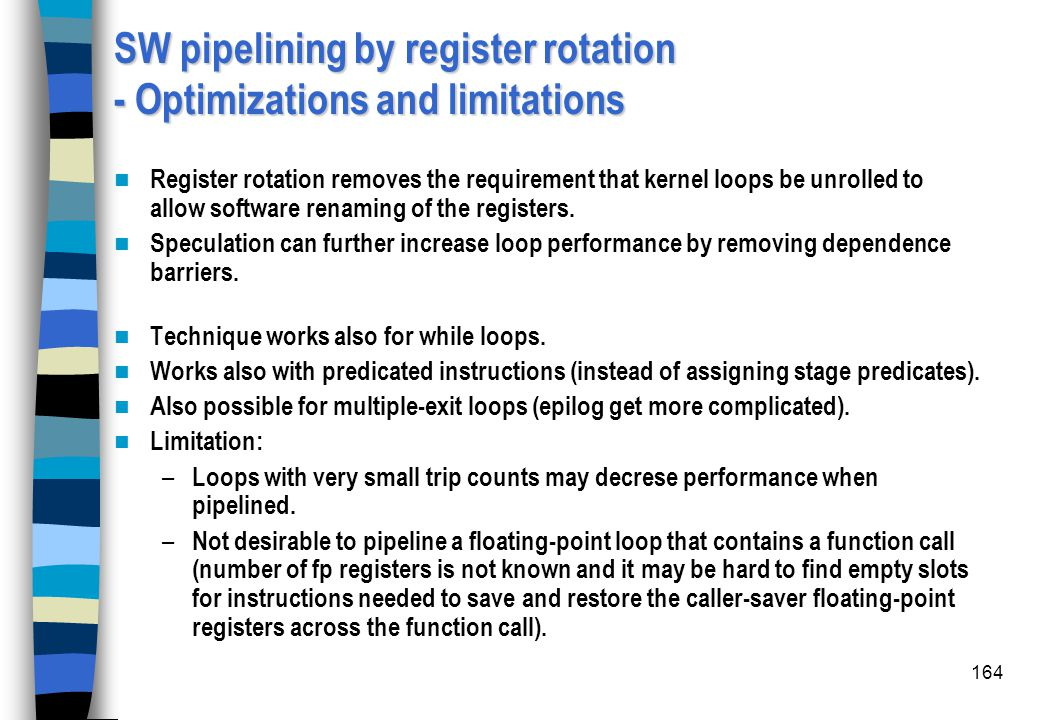 SW pipelining by register rotation - Optimizations and limitations