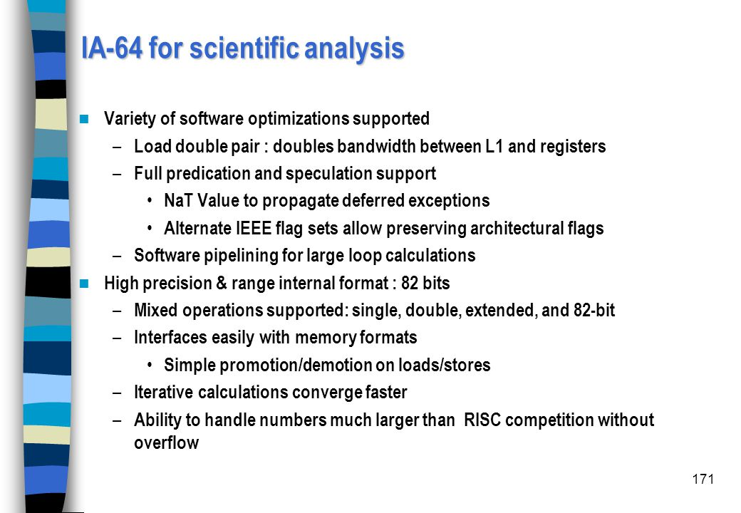 IA-64 for scientific analysis