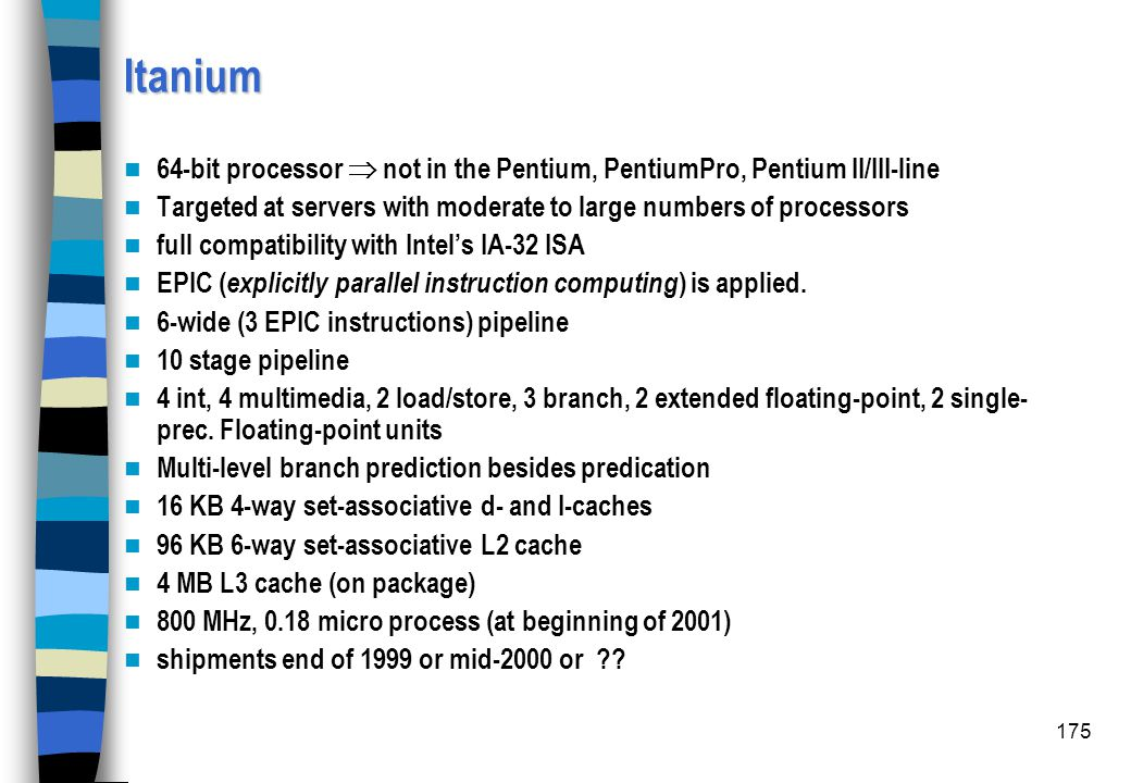 Itanium 64-bit processor  not in the Pentium, PentiumPro, Pentium II/III-line. Targeted at servers with moderate to large numbers of processors.