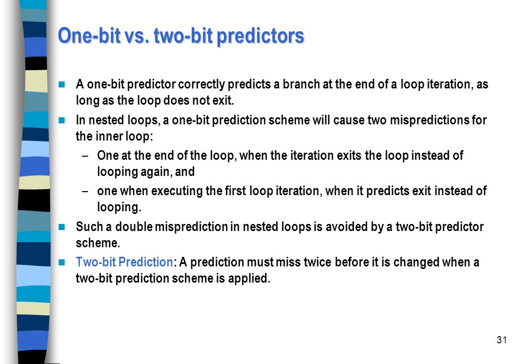 One-bit vs. two-bit predictors