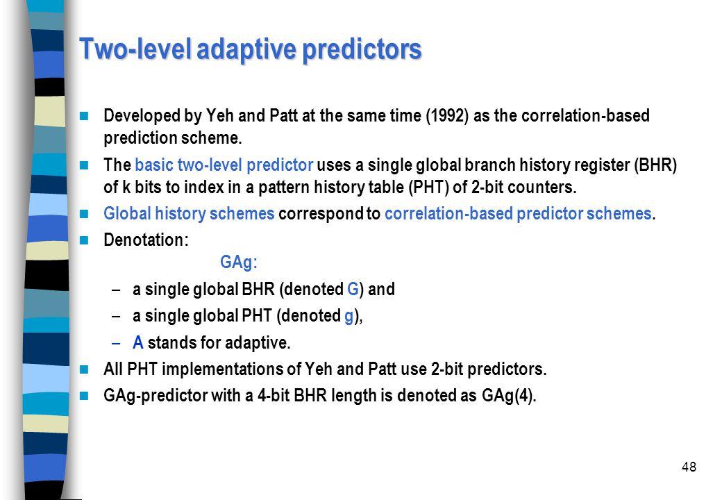 Two-level adaptive predictors