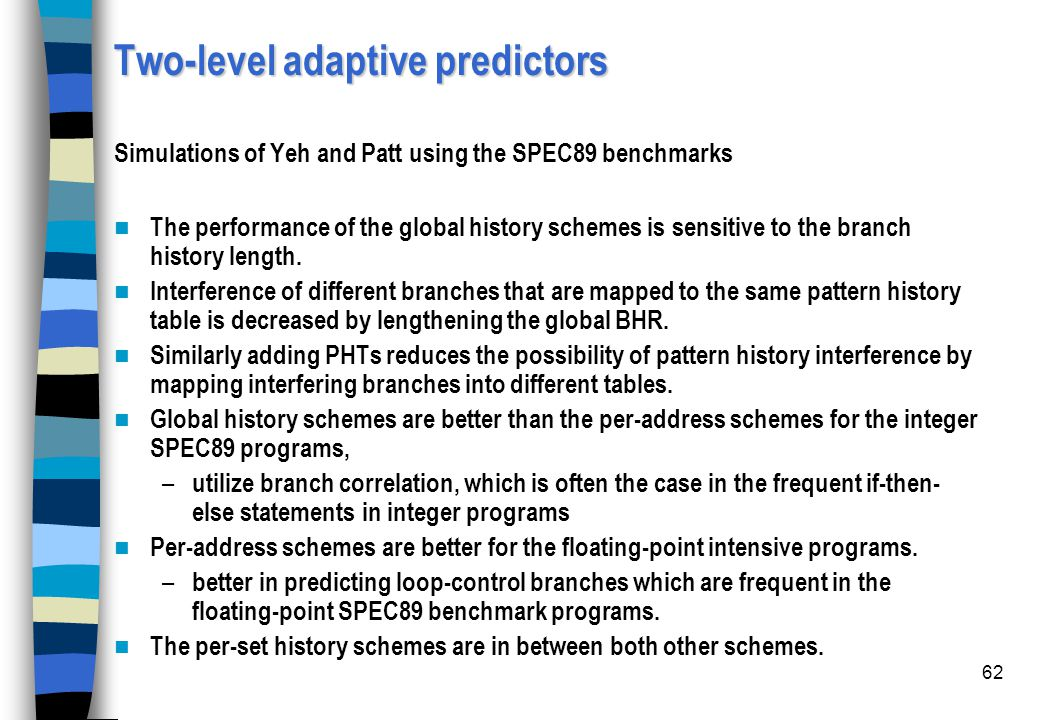 Two-level adaptive predictors Simulations of Yeh and Patt using the SPEC89 benchmarks