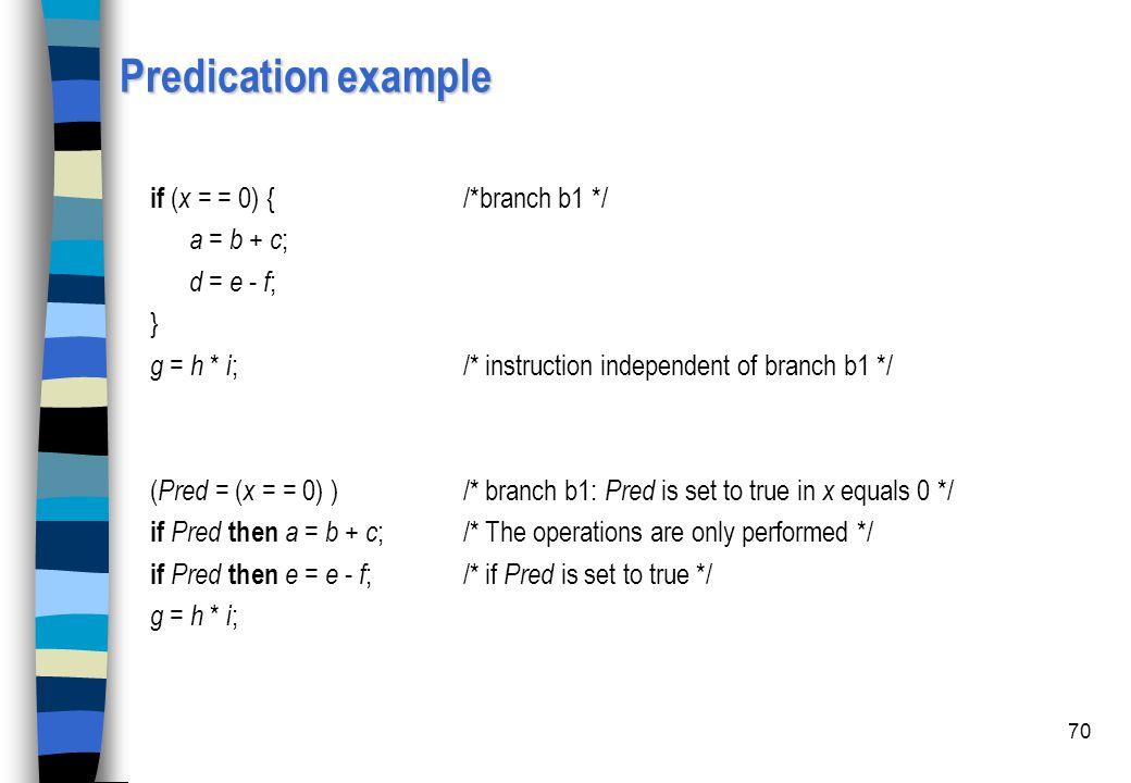 Predication example if (x = = 0) { /*branch b1 */ a = b + c;
