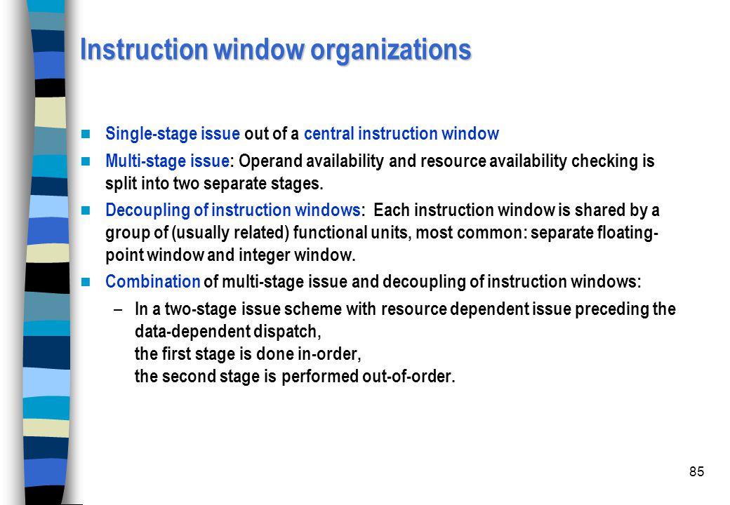 Instruction window organizations
