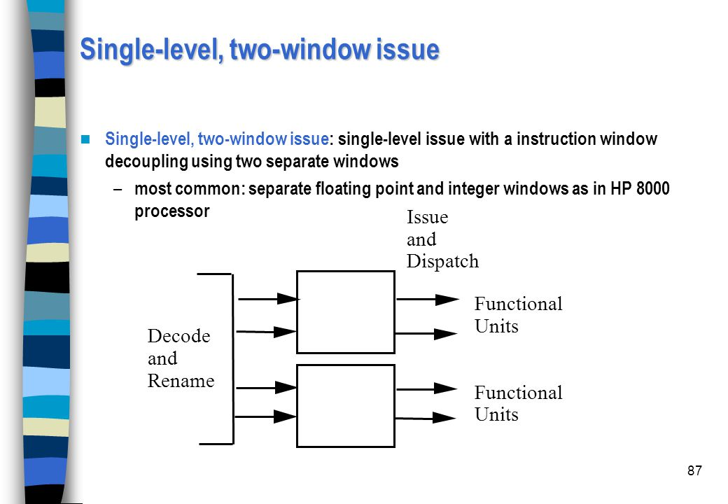 Single-level, two-window issue