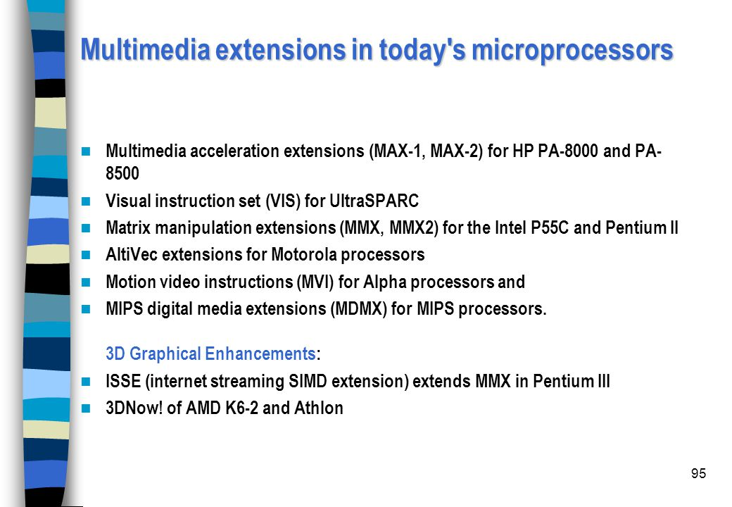 Multimedia extensions in today s microprocessors