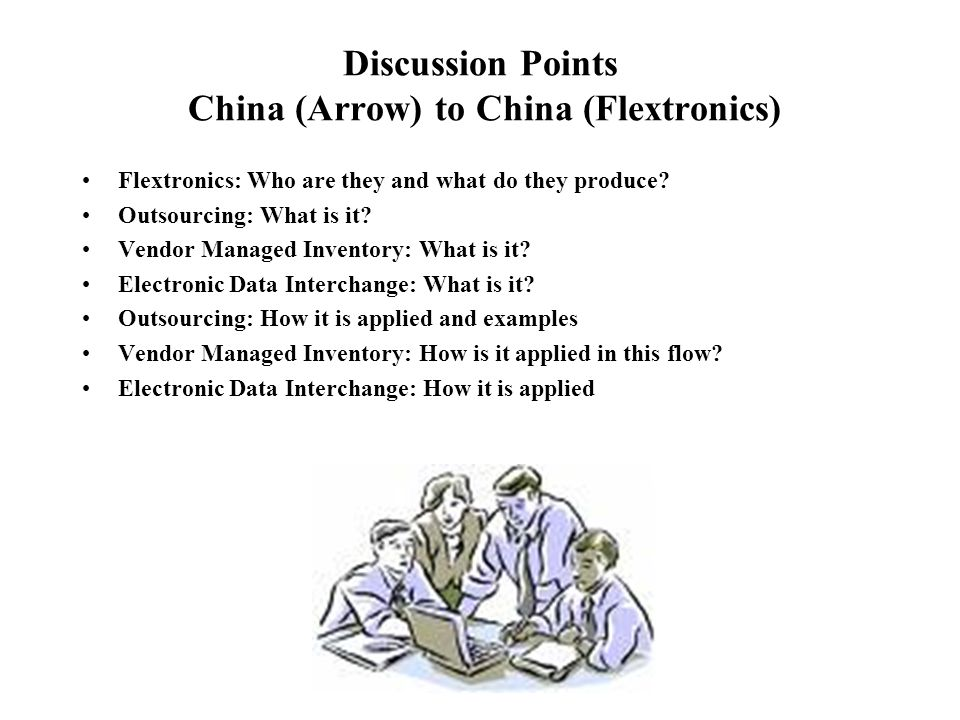 Discussion Points China (Arrow) to China (Flextronics)