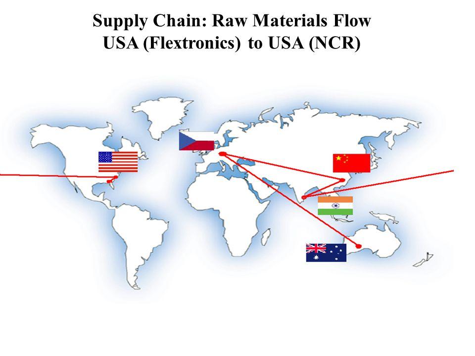 Supply Chain: Raw Materials Flow USA (Flextronics) to USA (NCR)