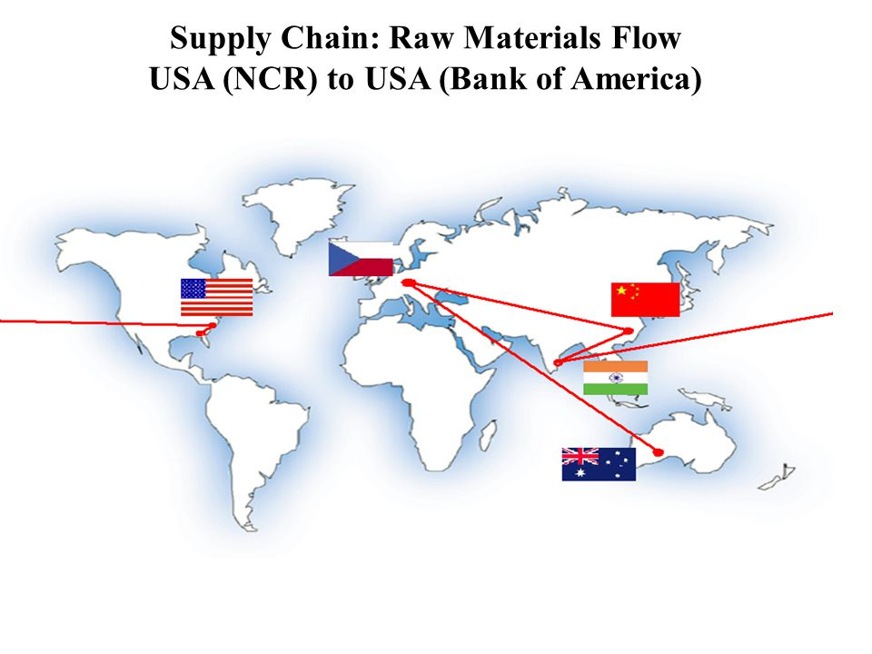 Supply Chain: Raw Materials Flow USA (NCR) to USA (Bank of America)