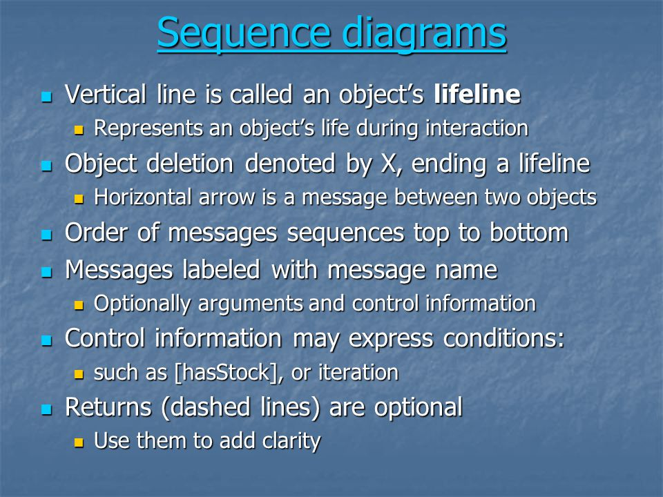 Sequence diagrams Vertical line is called an object's lifeline