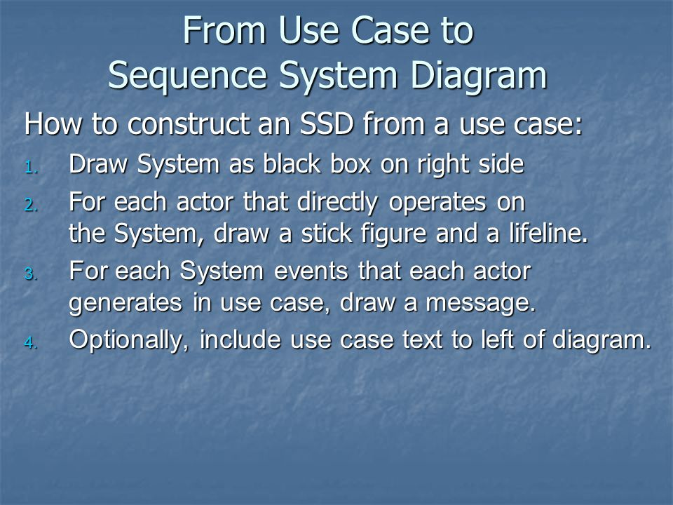 From Use Case to Sequence System Diagram
