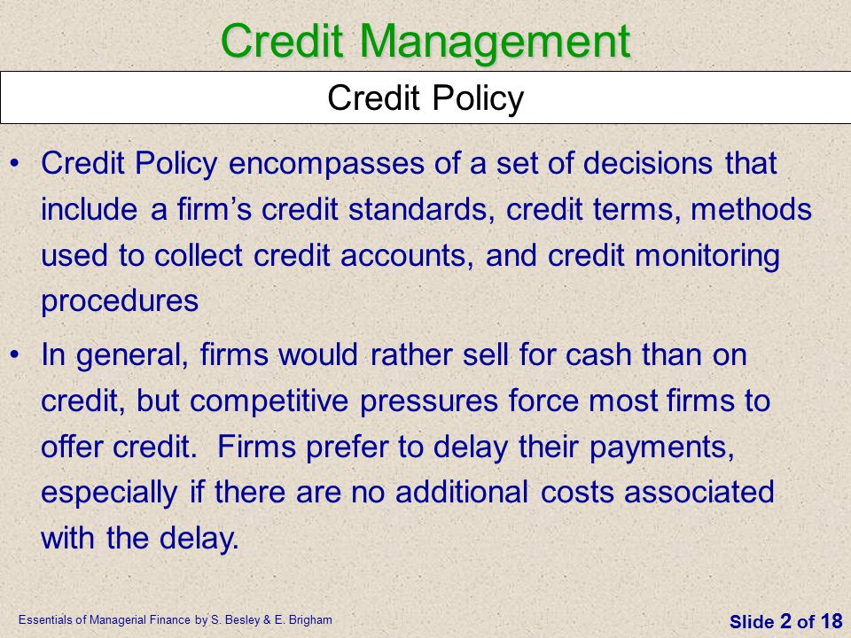 Credit Management Credit Policy