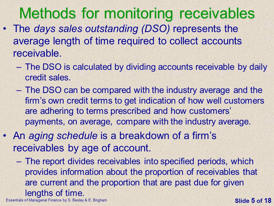 Methods for monitoring receivables
