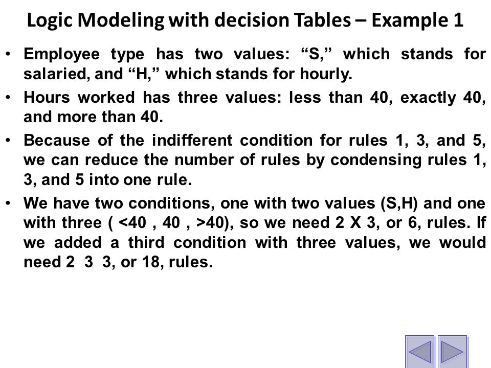 Logic Modeling with decision Tables – Example 1