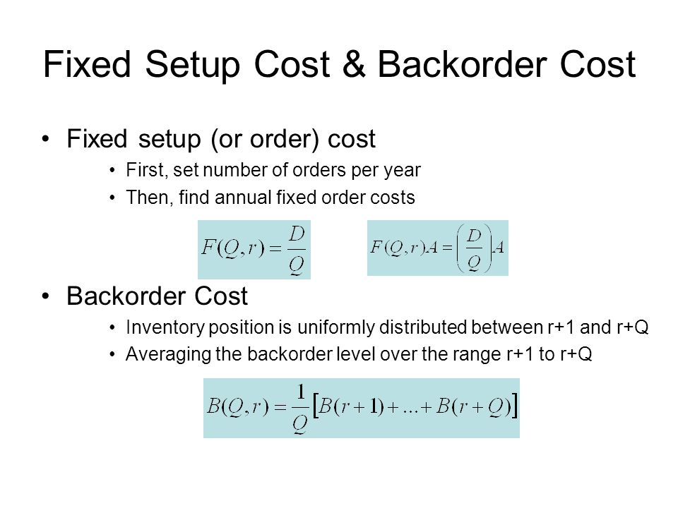 Fixed Setup Cost & Backorder Cost