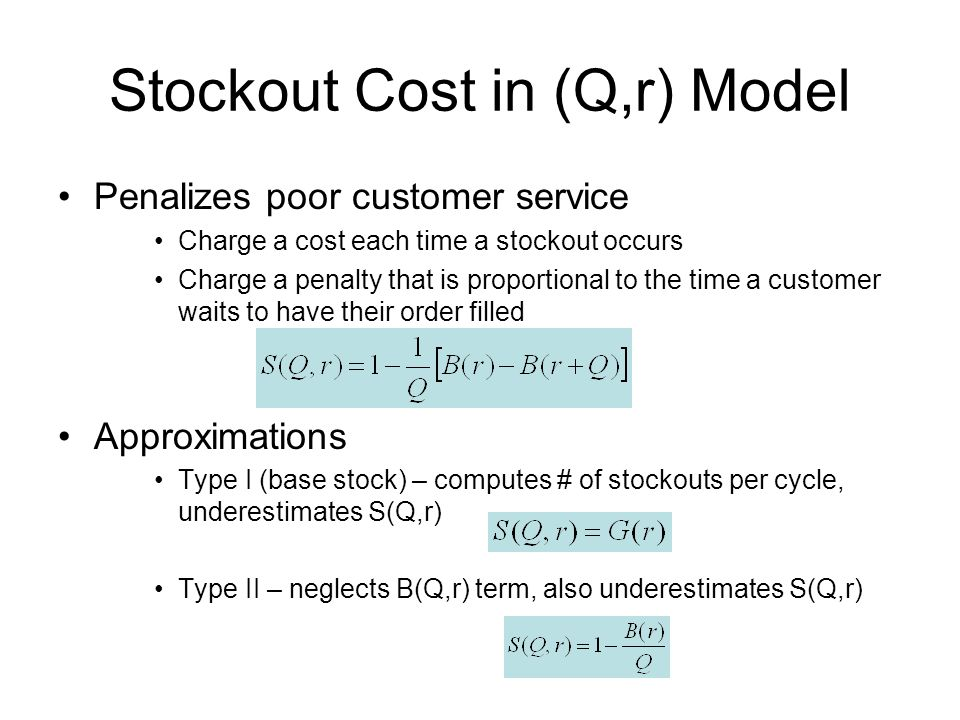 Stockout Cost in (Q,r) Model