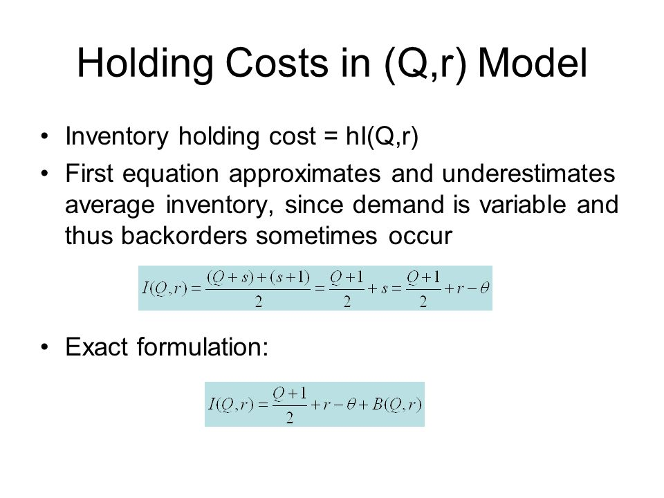 Holding Costs in (Q,r) Model