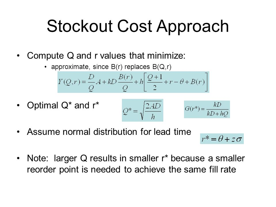 Stockout Cost Approach