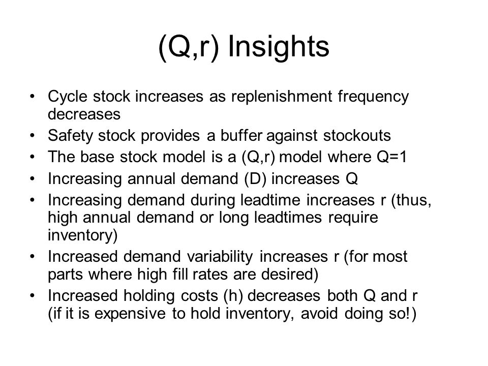 (Q,r) Insights Cycle stock increases as replenishment frequency decreases. Safety stock provides a buffer against stockouts.