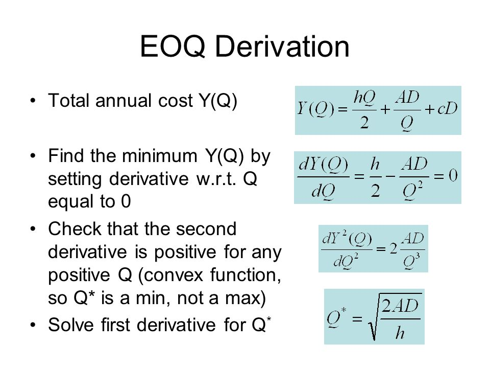 EOQ Derivation Total annual cost Y(Q)