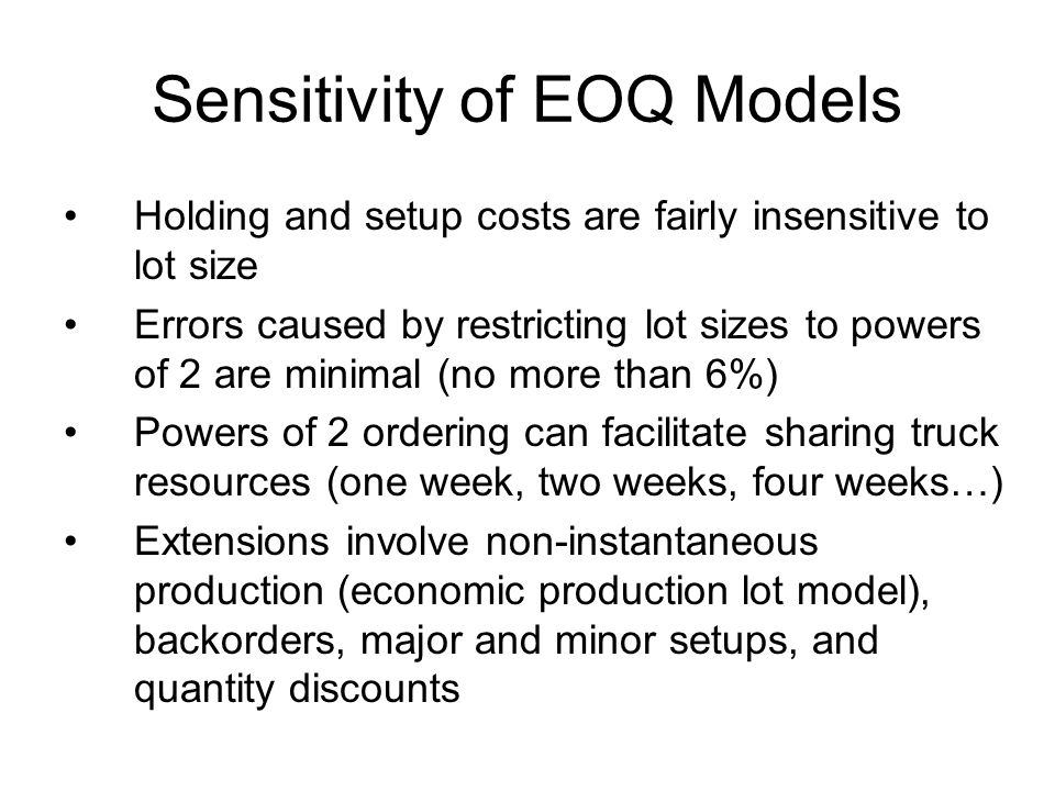 Sensitivity of EOQ Models