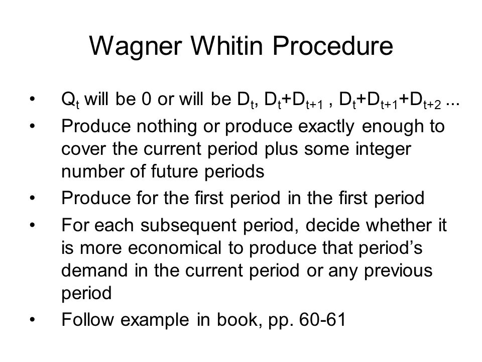 Wagner Whitin Procedure