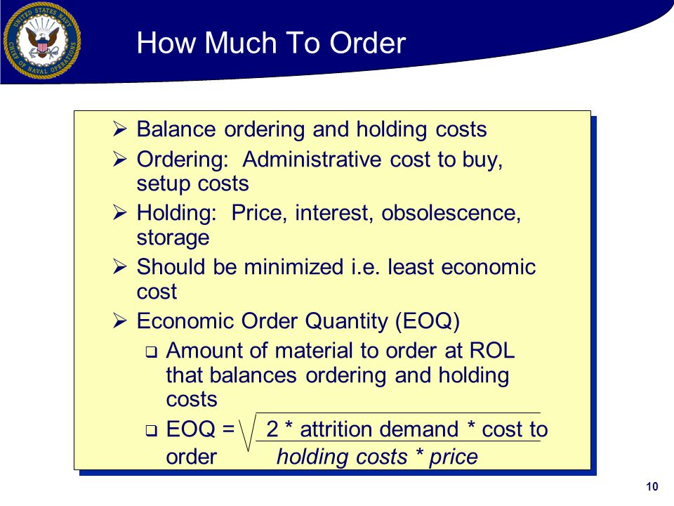 How Much To Order Balance ordering and holding costs