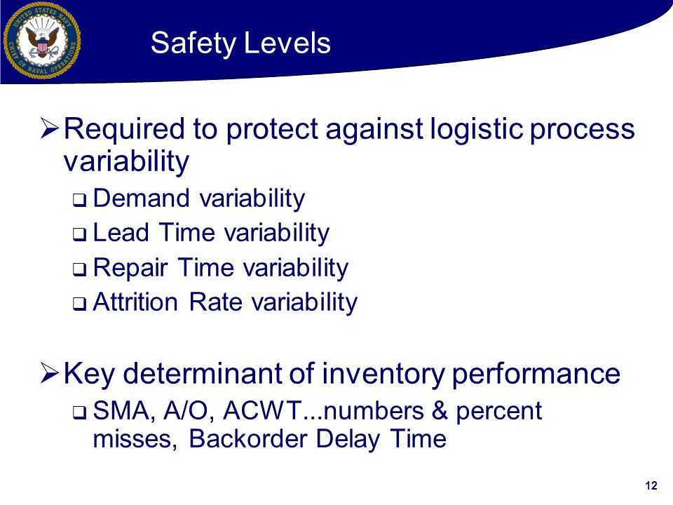 Required to protect against logistic process variability