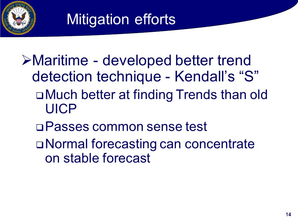 Maritime - developed better trend detection technique - Kendall's S
