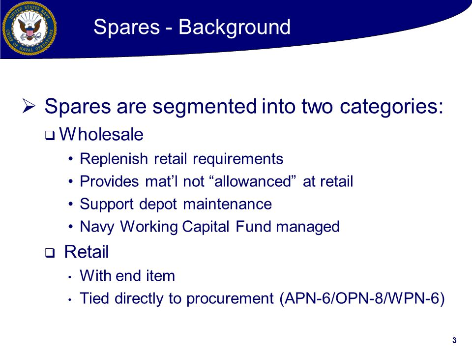 Spares are segmented into two categories: