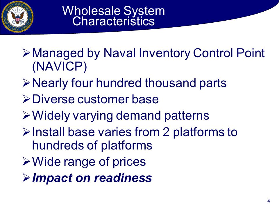 Wholesale System Characteristics