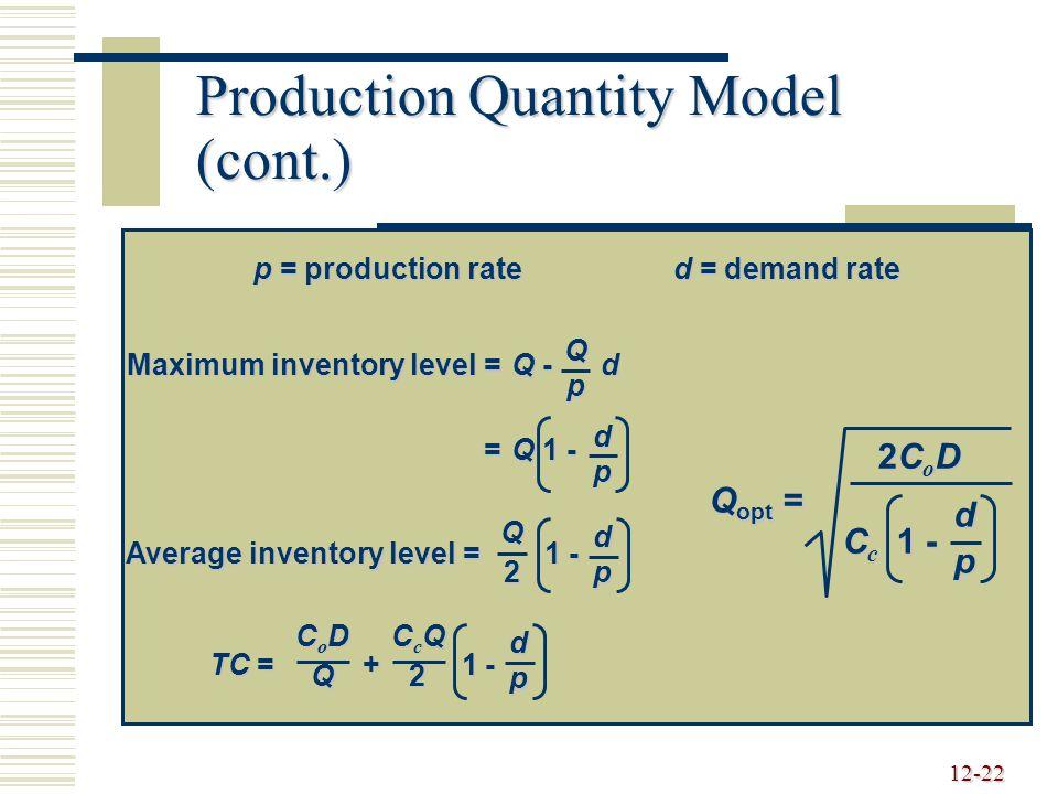 Production Quantity Model (cont.)
