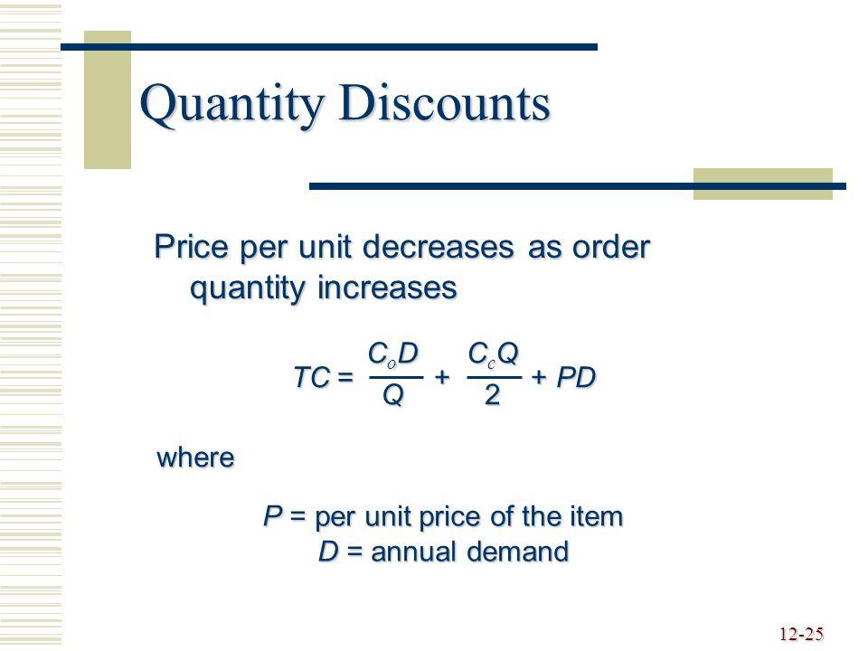 P = per unit price of the item