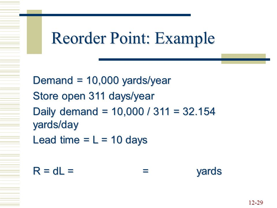 Reorder Point: Example