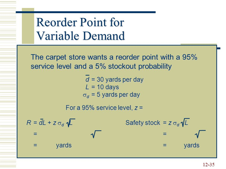 Reorder Point for Variable Demand