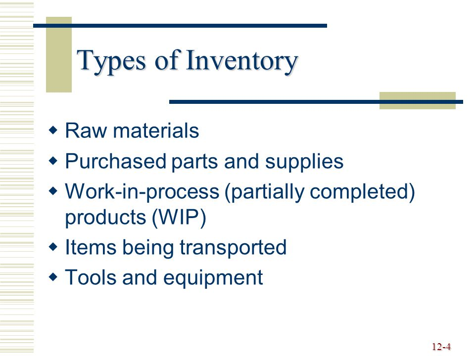 Types of Inventory Raw materials Purchased parts and supplies