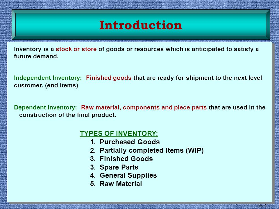 Introduction TYPES OF INVENTORY: 1. Purchased Goods