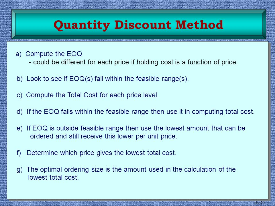 Quantity Discount Method