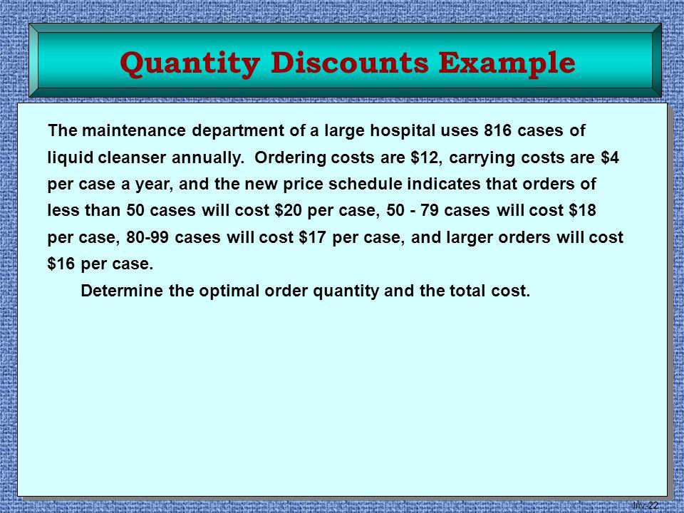 Quantity Discounts Example