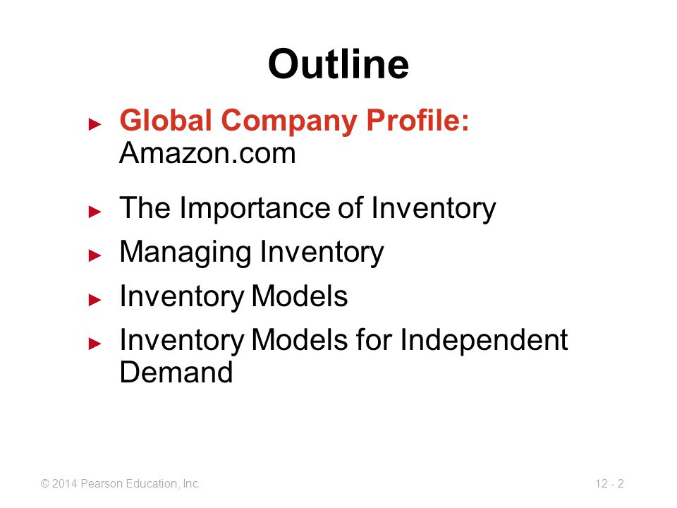 Outline Global Company Profile: Amazon.com The Importance of Inventory
