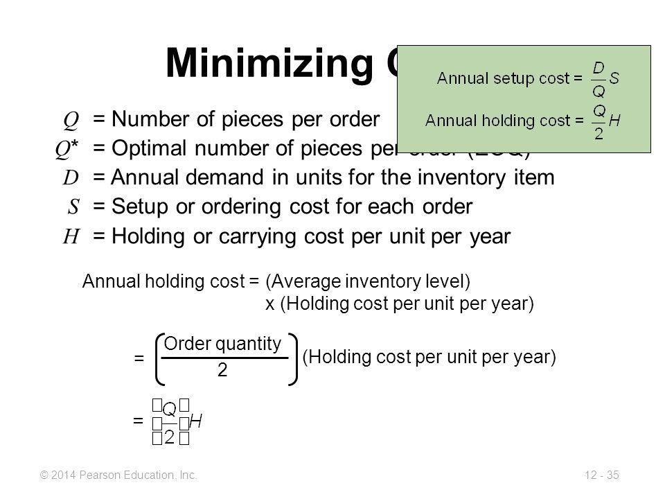 (Holding cost per unit per year)