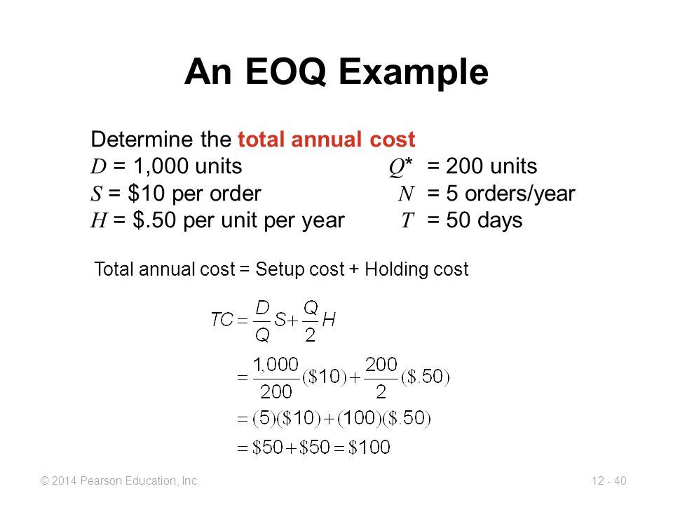 An EOQ Example Determine the total annual cost